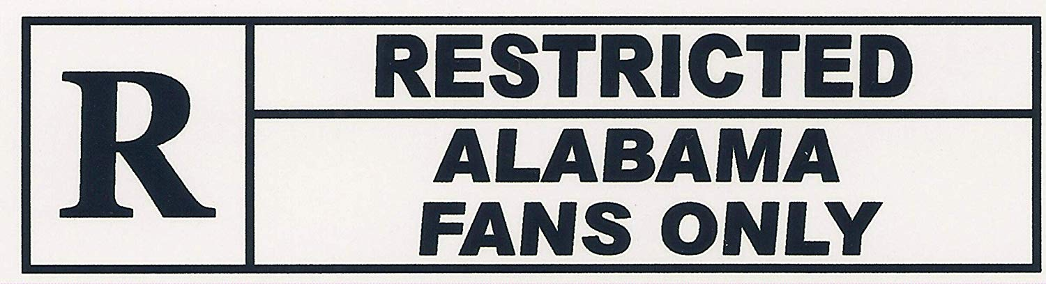 """RESTRICTED ALABAMA FANS ONLY"". Funny Refrigerator Magnet.""FREE SHIPPING ON THIS ITEM"". This flexible magnet is available for quick shipping. Two sizes. Great Item."