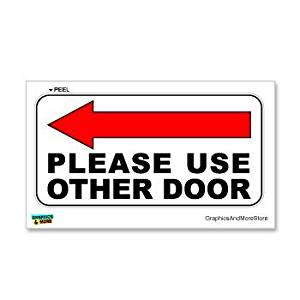 Please Use Other Door Left Arrow   Business Store Door Sign   Window Wall  Sticker