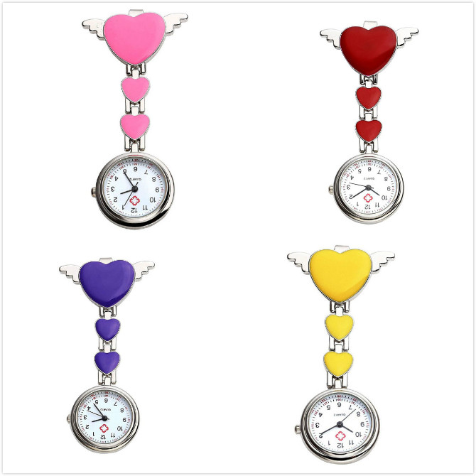 Nursing Pocket Watch With Heart Angle Wing Clip On Brooch Hanging Pocket Watch