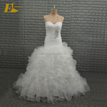 Real Sample Sweetheart Neckline White Ruffle Organza Wedding Dresses China