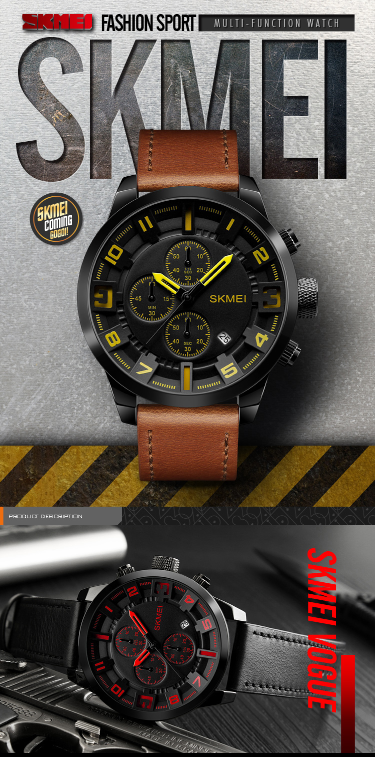 Nueva Relojes Hombre Skmei 1309 marca de lujo cronógrafo Calendario de cuarzo deportes 30 m impermeable moda reloj de cuero de los hombres