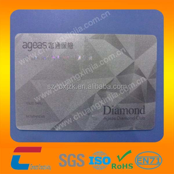 CMYK standard CR80 credit card size plastic silver mirror PET business card