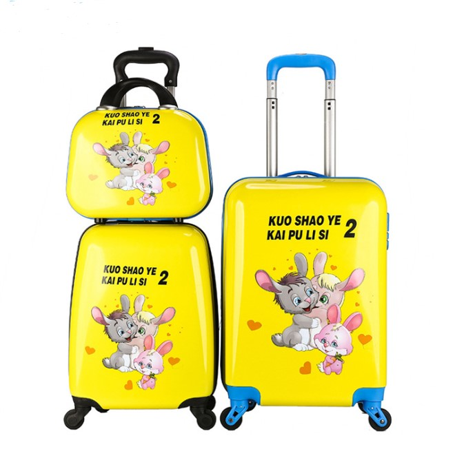 "3pcs14""18""20""Kids <strong>ABS</strong> Carry On Luggage Set Upright Hard Side Hard Shell Suitcase Travel Trolley luggage bag"