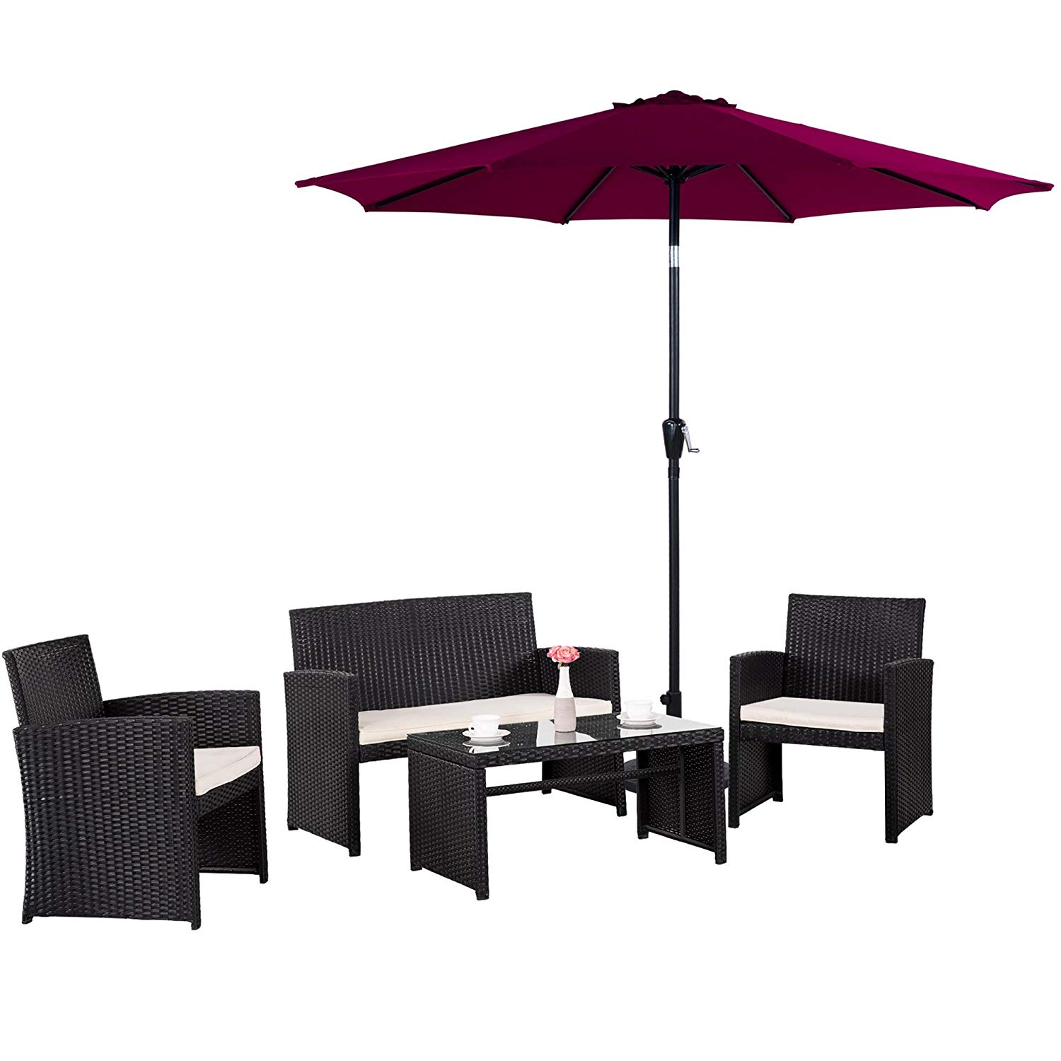 Cloud Mountain 5 Piece Wicker Furniture Set Patio Conversation Set Outdoor Umbrella Rattan Garden Lawn PE Rattan Furniture Sofa Cushioned Seat Chat Set, Black Rattan Creamy White Cushions