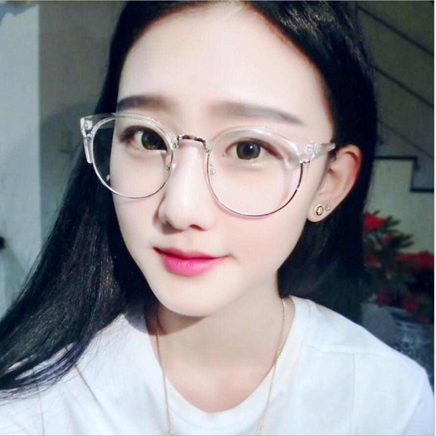 Case Free Retro Round Transparent Glasses Frame For Women