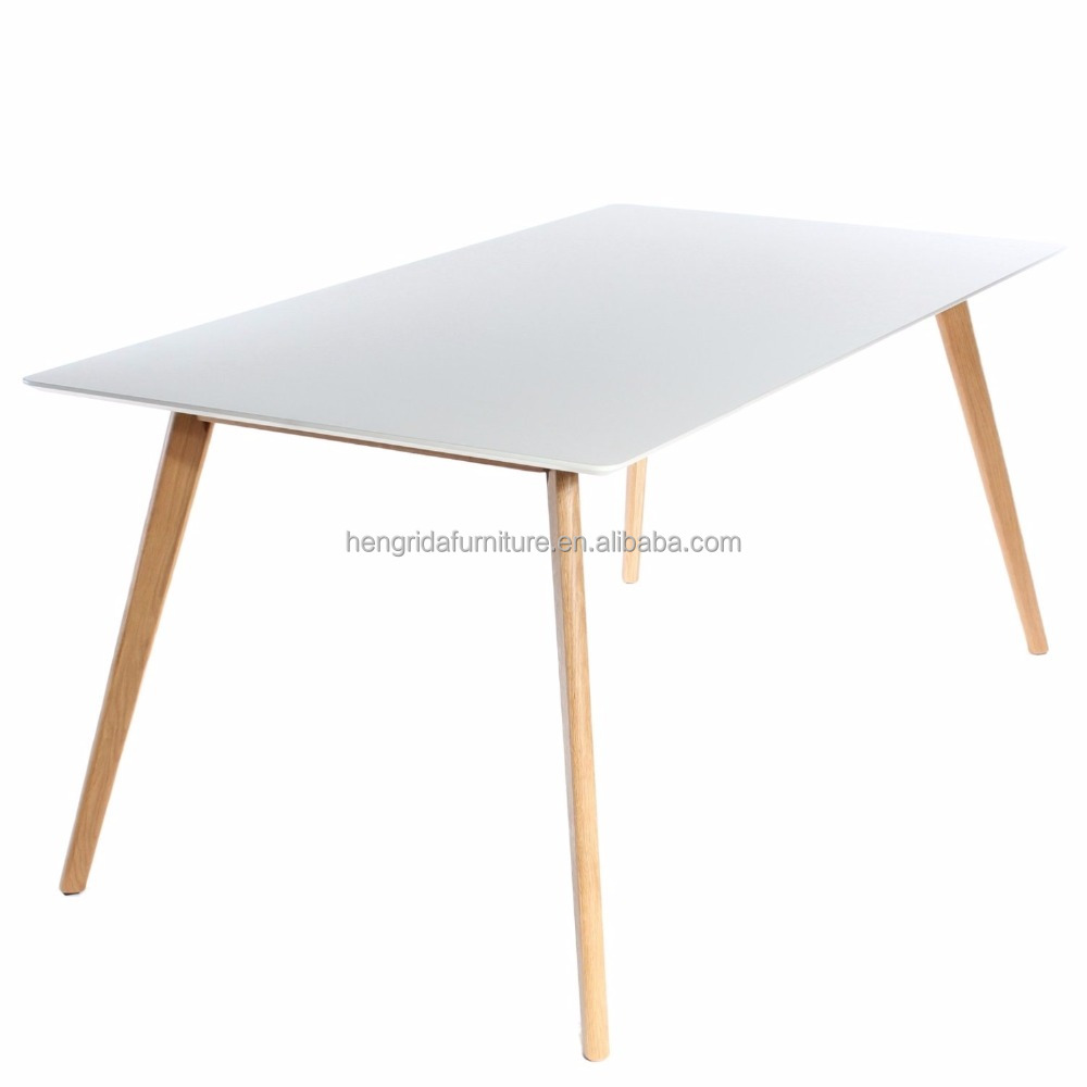 scandinavian solid wood oak Rectangle Dining Table with White MDF top