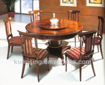 Imported Wooden Round Dining Table 6 Chairs Set Design