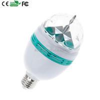 Super Bargain 3W LED E27 RGB lighting Colorfull LED Crystal Stage Light Auto Rotating Stage Effect DJ Lamp Mini Stage Light Bulb