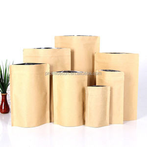 Top Grade Custom Standing up Resealable Food Packing Brown Kraft Paper Bag With Zipper
