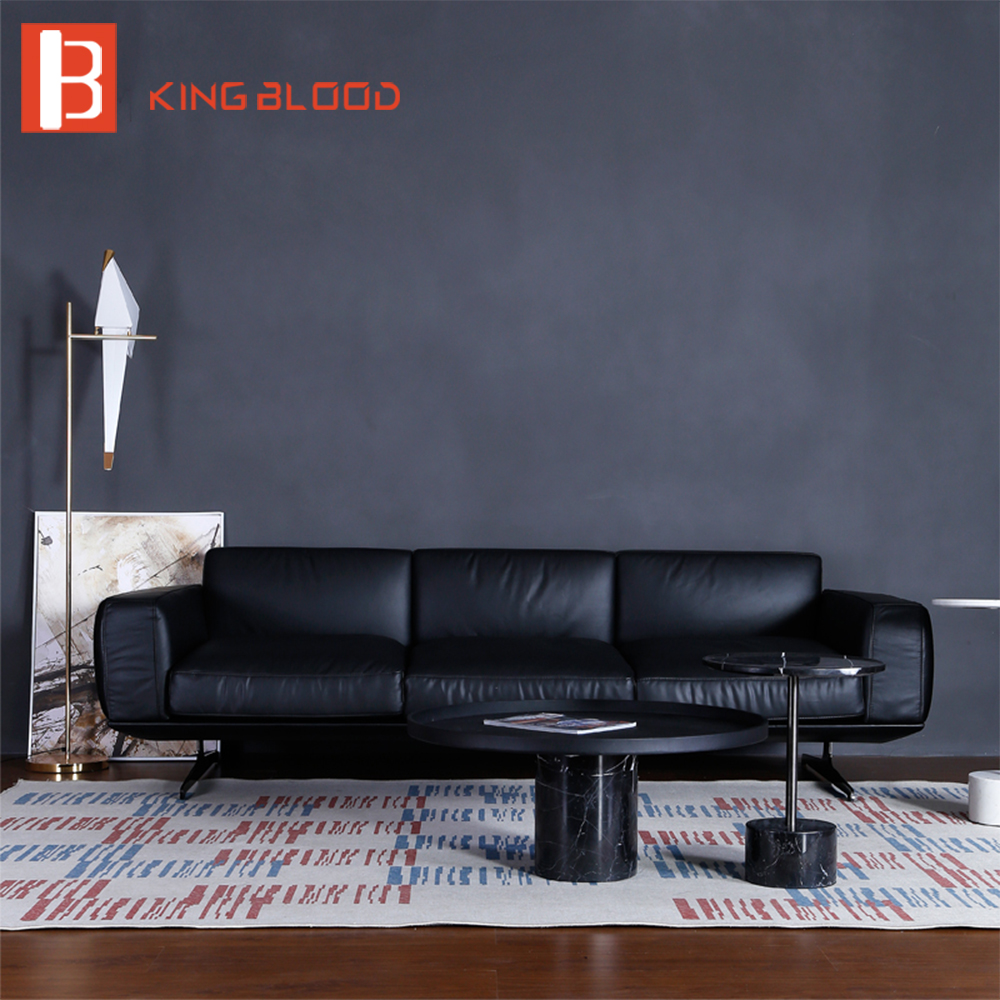 Modern black real Nappa leather material sectional <strong>sofa</strong> for living room italian leather <strong>sofas</strong>