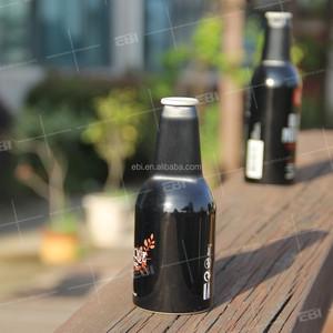 Black empty aluminum beer bottle 330ml 500ml with caps and cover