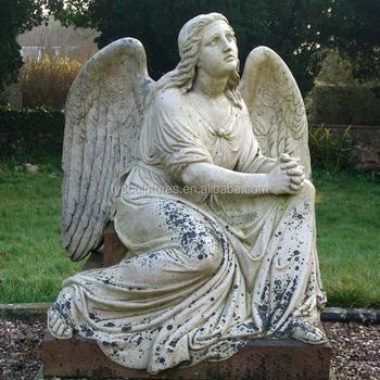 Sitting Marble Garden Antique Stone Female Angel Statue