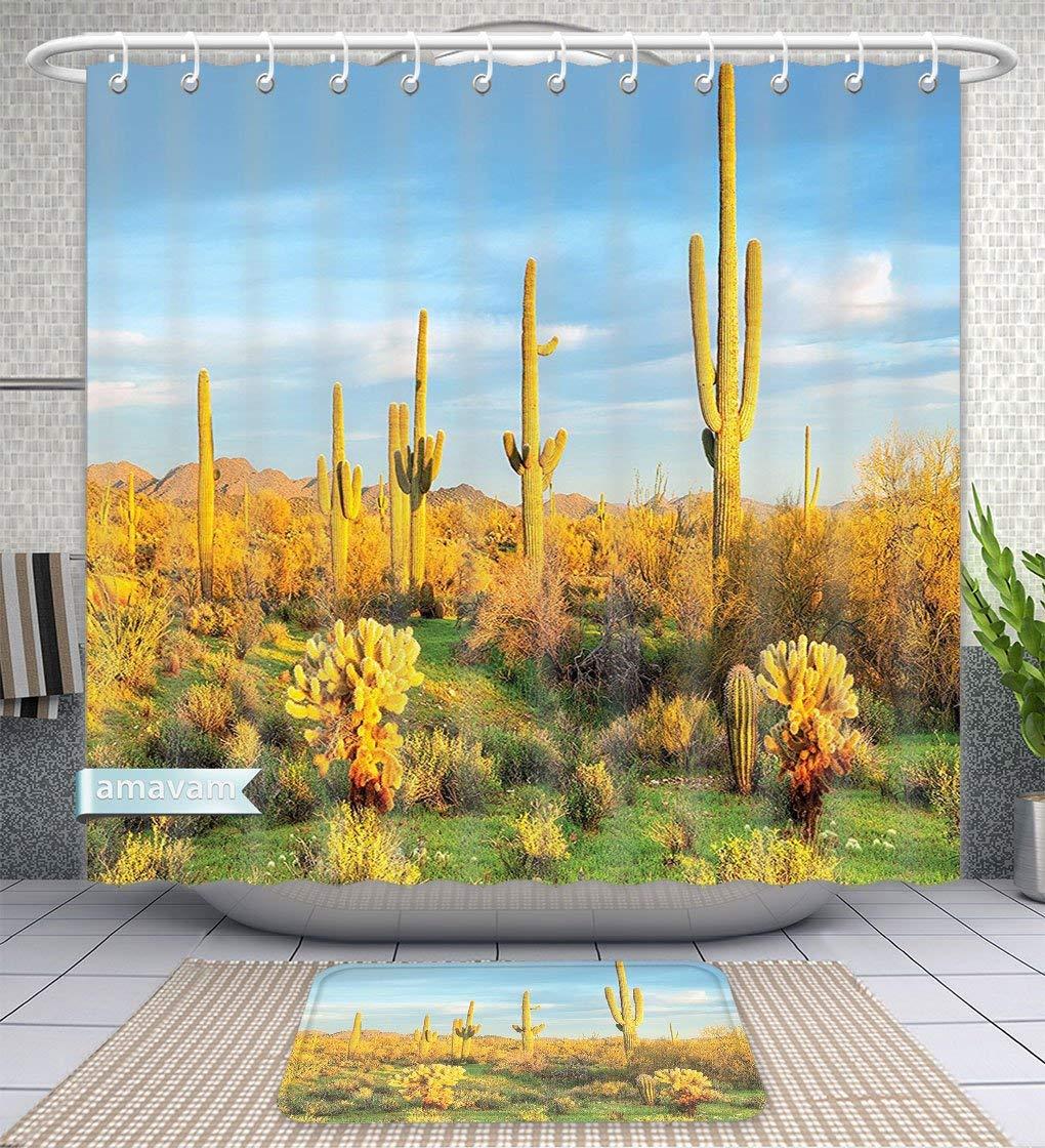 "Unique Custom Bathroom 2-Piece Set Saguaro Cactus Decor Sun Bath In Sonoran Desert Blooming Cactus Spring Time Vegetation Scenery Yellow Blu Shower Curtains And Bath Mats Set, 71""Wx79""H & 31""Wx20""H"