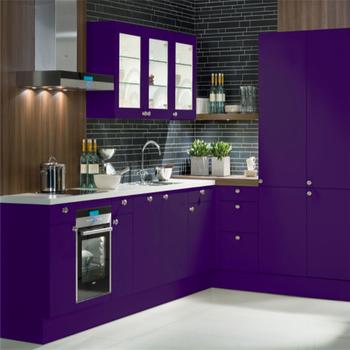 Elegan Warna Ungu Dapur Kabinet Furniture Dengan Basket Tinggi Frosted Kaca Pintu Lemari Dinding