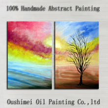 Expert Artist Used Beautiful Colors Hand-painted Abstract Landscape Oil Painting On Canvas Handmade Colorful Rainbow Oil Paints
