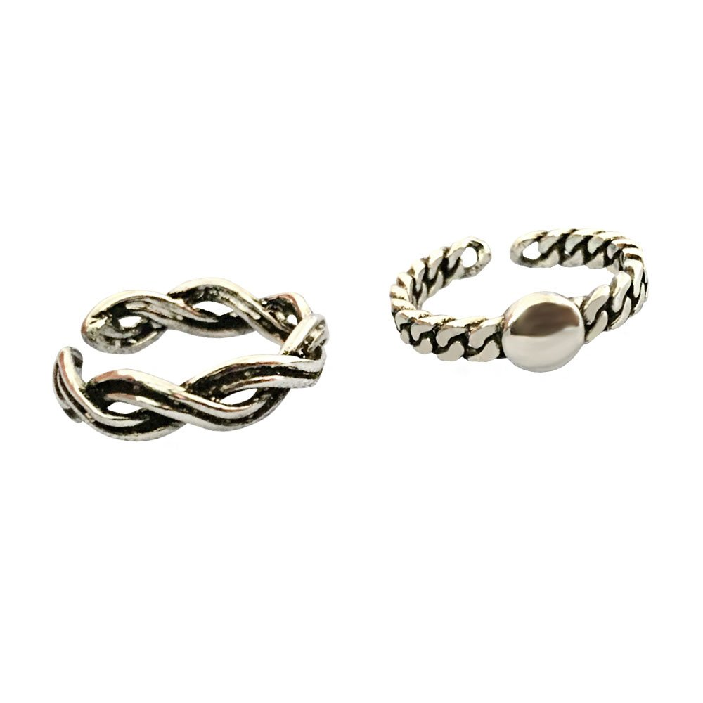 Liara Polished and Nickel Free Anchor Toe Ring Adjustable with Crystal