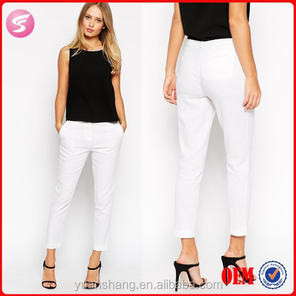 Sexy Petite Women Linen White Pants Ladies Office Trousers - Buy ...