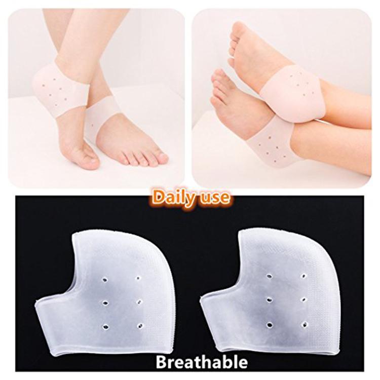 Hot selling 1 pair unisex moisture silicone gel heel protectors socks sleeve insoles for cracked heels feet care