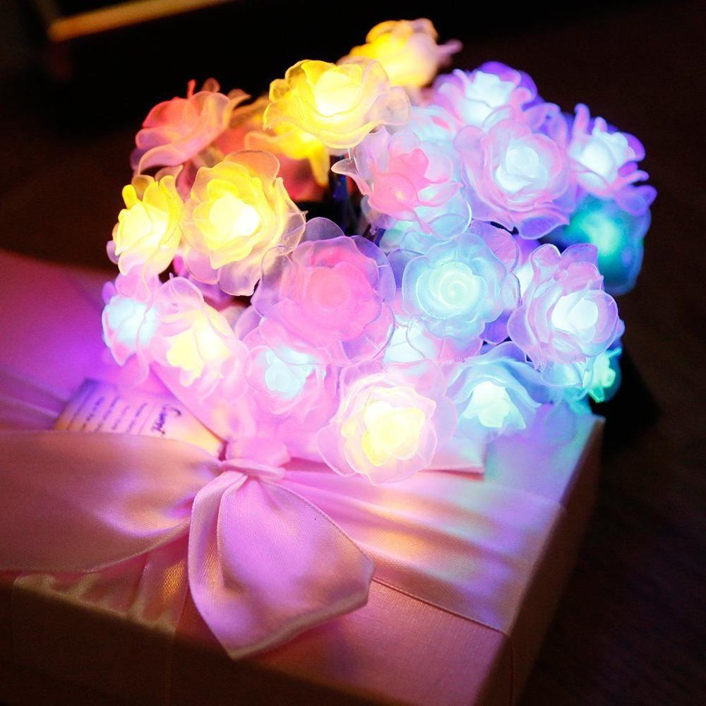 Fairy led String Lights Rose Flower Battery Operated Decorative Light for Wedding Valentine's Day Dreamlike Party bedroom