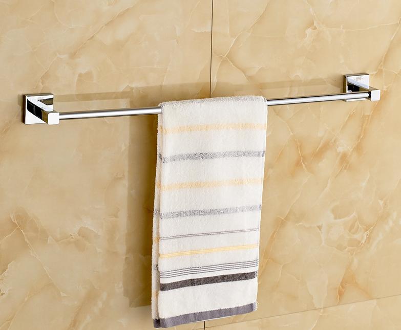 Chrome Polished Bathroom Towel Rail Wall Mounted Single