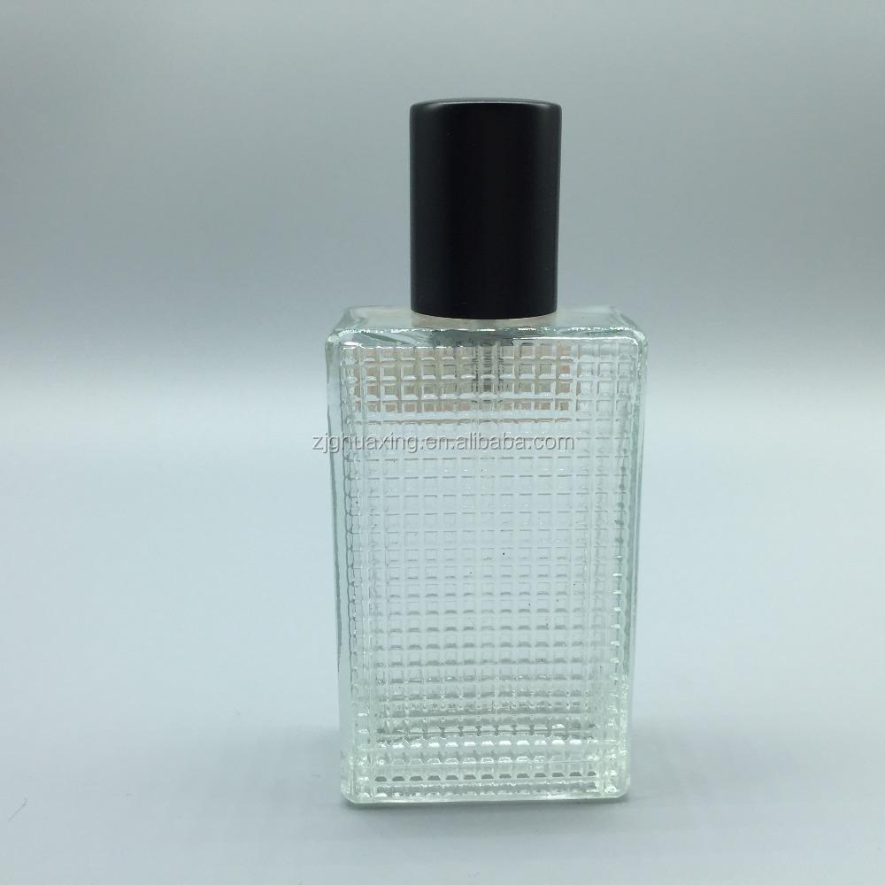 Wholesale 597 75ml square dot glass bottle with black aluminum cap ...