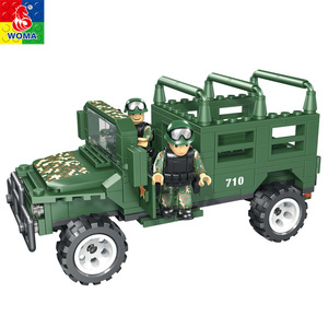 High quality military toy car building blocks with color box