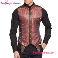 New Design Lacing Shoulder 8 Steel Boned Steampunk Loss Weight Corset For Men
