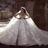 Luweiya Gorgeous Beaded Luxury Long Train Wedding Dress Bridal Gown Crystal Wedding Dress