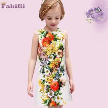 new style 2016 summer Children Wedding Dress Baby Girls Dresses Kids floral sleeveless vestidos Princess Casual