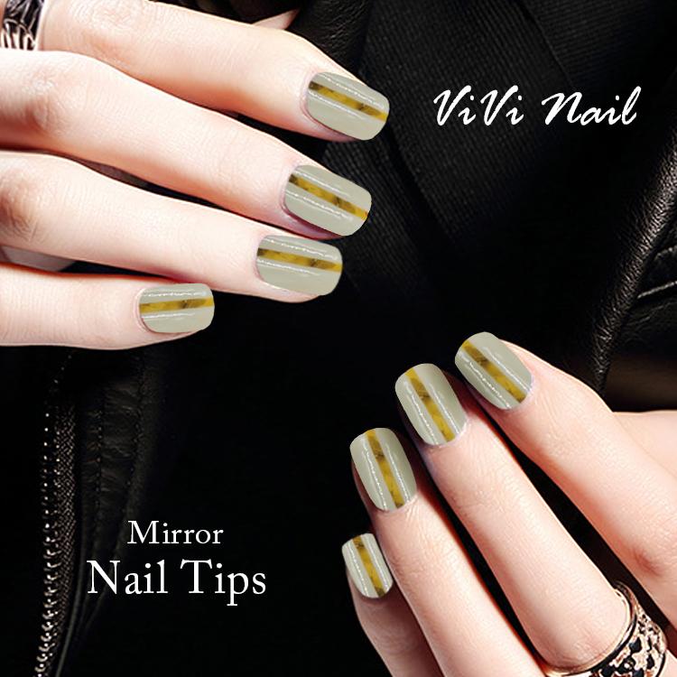 Newair magnífico efecto espejo 24 unids oro metálico uñas ...