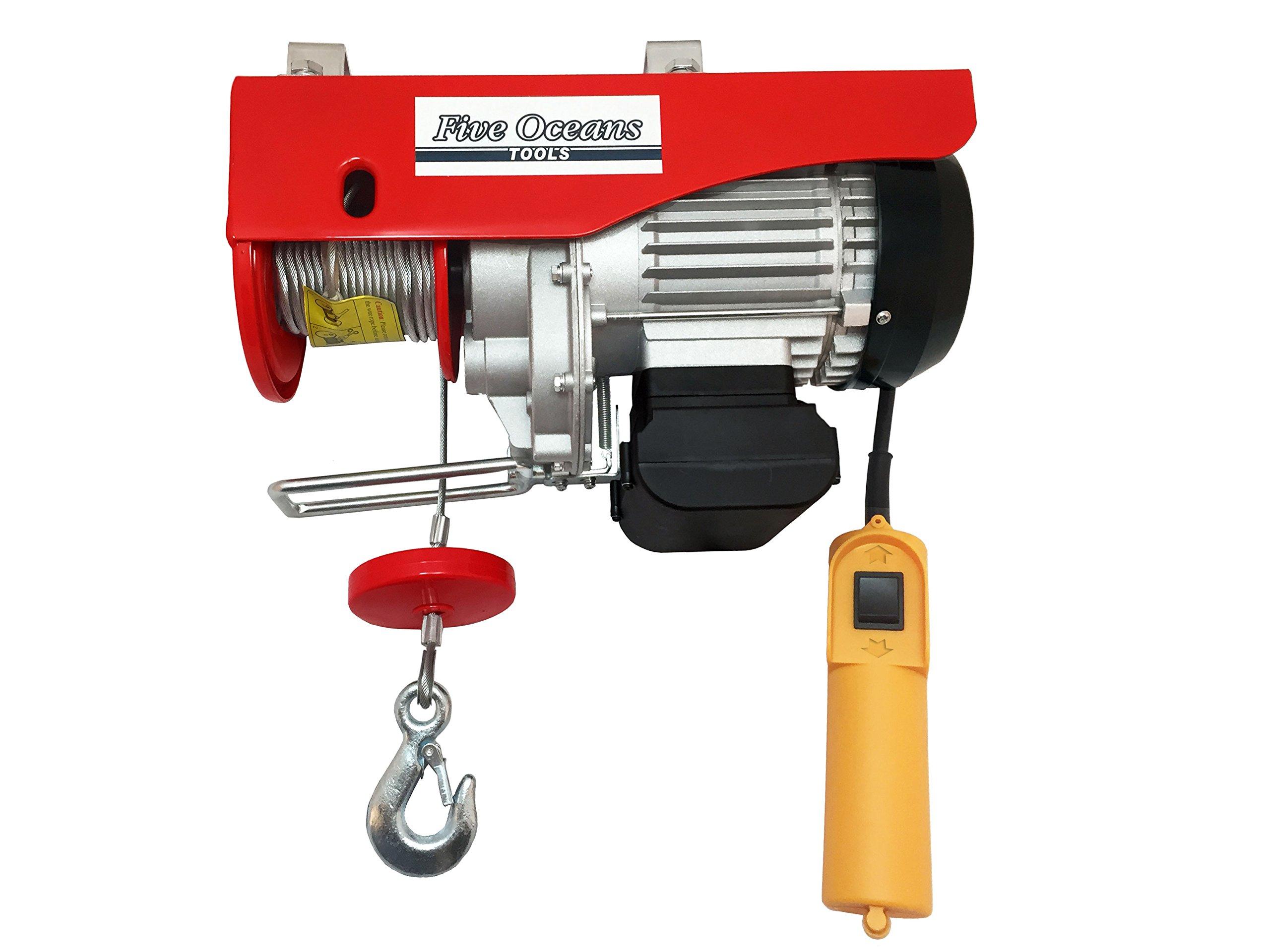 2200lb Overhead Electric Hoist Crane Lift Garage Winch W/remote 110v- Five Oceans