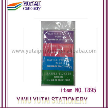 Yutai Serial Numbering Raffle coupon tickets