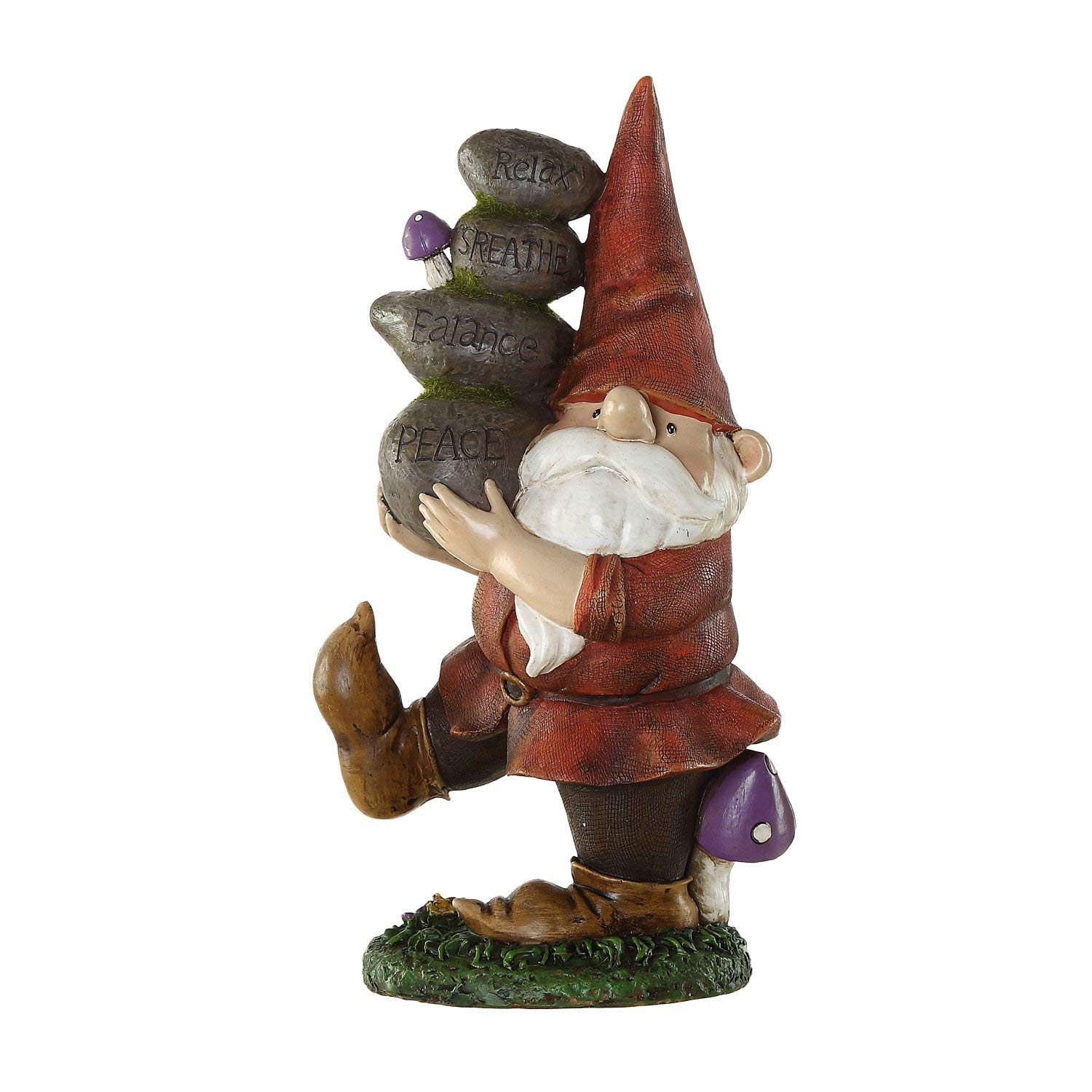 Ivy Home Outdoor Decorative Garden Statue,Gnome Carried Stones