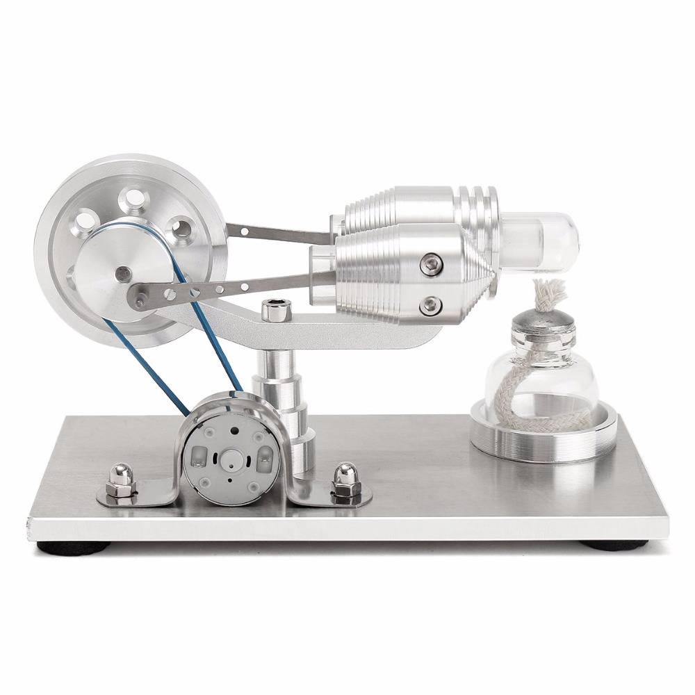 Stainless steel Mini Hot Air Stirling Engine Motor Model Educational Toy Kits