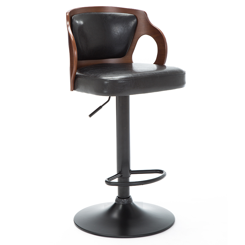 Awe Inspiring Walnut Bentwood Adjustable Height Leather Modern Barstool With Back Vinyl Seat Extremely Comfy Bar Stools Buy Walnut Bar Stool Good Quality Modern Machost Co Dining Chair Design Ideas Machostcouk