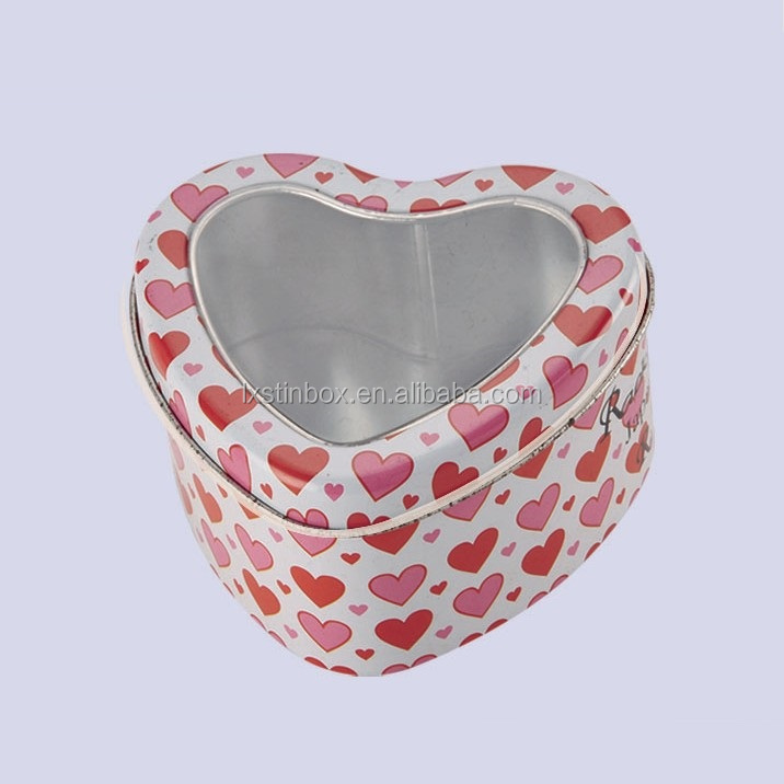 heart shaped jewellery boxes wholesale jewel tin box with PVC window lid OEM fashion box for jewelry