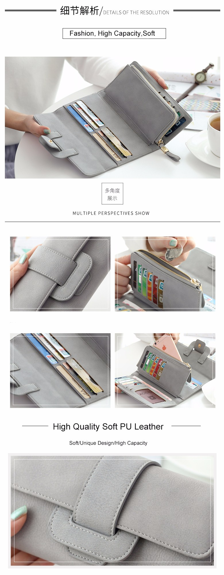 Free Shipping Factory Wholesale High Capacity Women Zipper Large Clutch Wallet