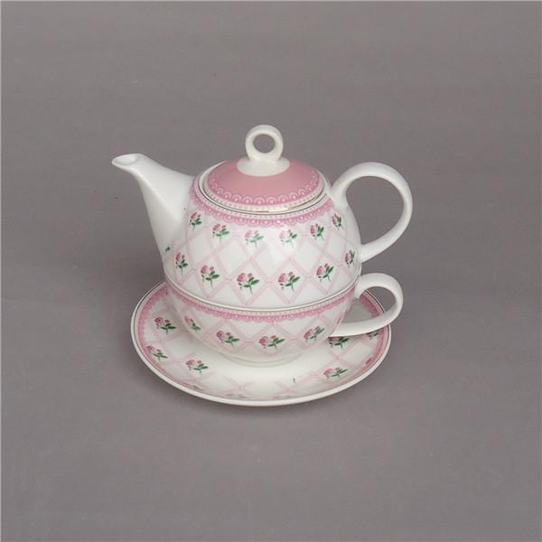 Floral pink color custom gold rim turkish tea for one , porcelain personalized tea set