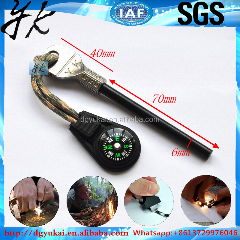 outdoor Length 84mm Magnesium flint rod,fire starter/survival knife with fire starter