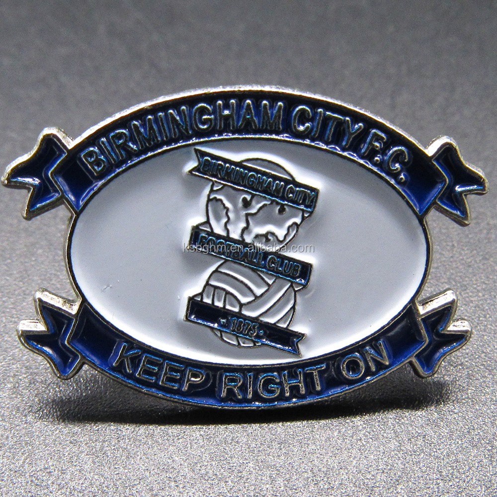 Customized soft enamel football club badge with BIRMINGHAM CITY F.C.