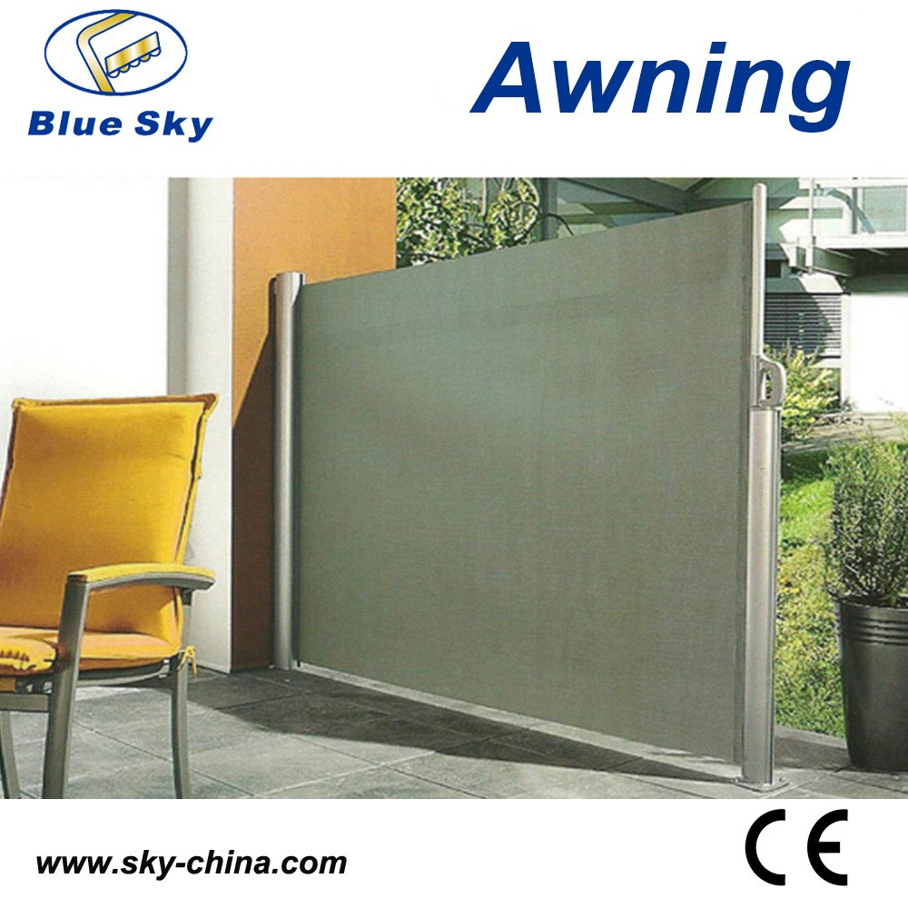 Outdoor Retractable Wind Screen Side Awning For Balcony UV Proof