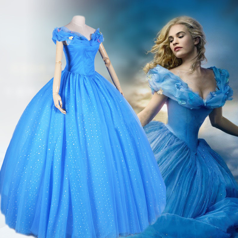 Princess Cinderella Wedding Dress Costume For: New Movie Cinderella Princess 2015 Cinderella Dress For