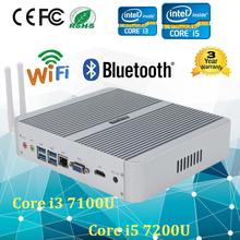 Popular Mini Desktop PC 7th Gen Mini PC i3 7100U Kaby Lake Fanless PC 12V Wind10 2.4GHz HTPC Computer