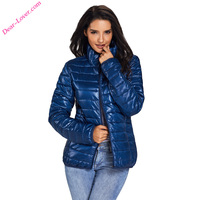 Girls Blue High Neck Quilted Puffer Cotton Jacket