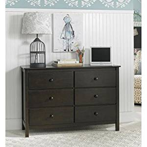Fisher-Price 6 Drawer Double Dresser, Dark Roast