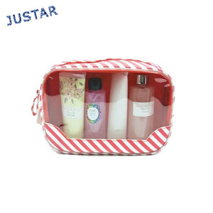 New Arrival Clear Transparent PVC Women Beauty Travel Cosmetic Packing Makeup Bag Set