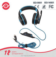 OEM Super bass good quality LED lights computer gaming headsets with microphone(M-933)