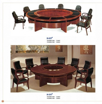 Round Huge Wood Granite Conference Table Factory Sell Directly Hp - Conference room table cable management