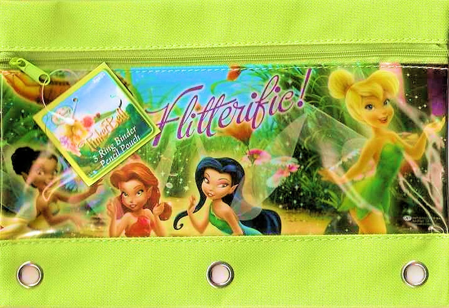Disney Fairies Tinkerbell Zippered Pencil Case Pouch for 3 Ring Binder