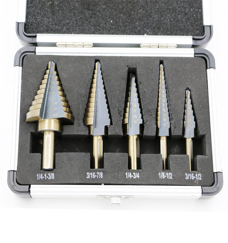 5pcs HSS High Speed Steel Cobalt Titanium Step Drill Bit Multiple Hole with Box
